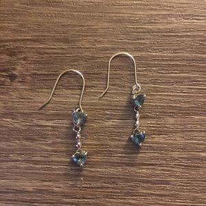 Blue heart dangling earrings